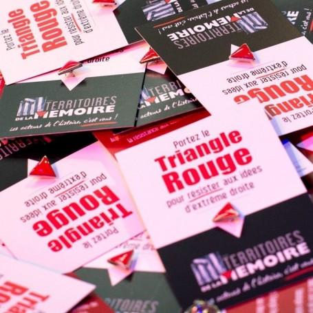 Pin's Pins Triangle Rouge Contre Extrême Droite et Symbole Ouvrier Mélenchon