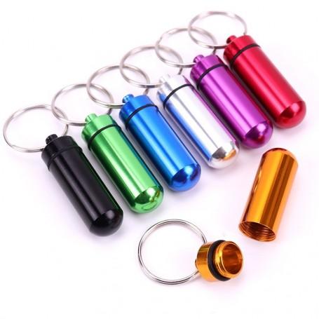 Porte Clef Boite Médicament Pilulier Pillbox Voyage Porte clé Aluminium Pillule