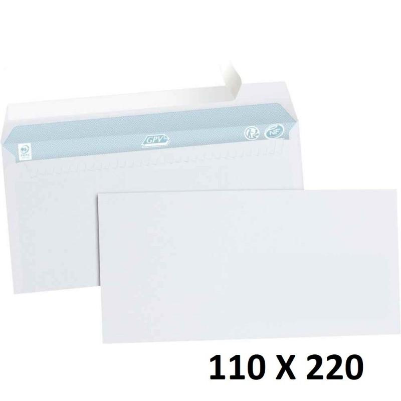 5X Enveloppe Blanches Courrier Auto-Adhésives 110x220mm 11x22cm DL SF