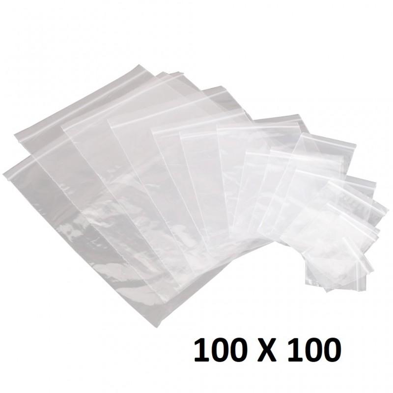 Lot 100X Sachet Zip Plastique 100x100mm 10x10cm Transparent Pochon 50u