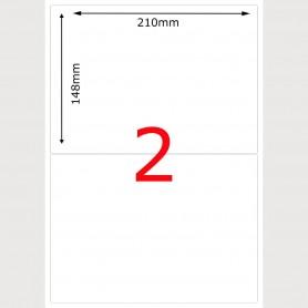 50X Feuille Autocollante Papier 100 étiquettes 210x148mm A5 soit 2 par Planche