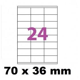 10X Feuille Autocollante Papier 240 étiquettes 70x36mm soit 24 par Planche