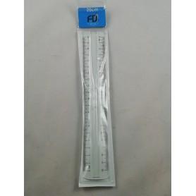 Règle Double Décimètre à Poignée 20 cm en Plastique Incassable Transparent