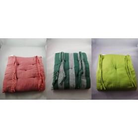 Lot de 2X Coussin Galette Dessus de Chaise 100% Coton 38x38x5 cm 3 couleurs