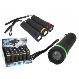 Mini Lampe Torche LED 1W 10,5 cm avec ZOOM 50 - 130 Mètres 4 Couleurs