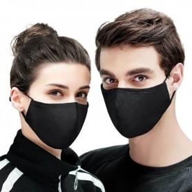 Masque de Protection Visage Anti Poussière en Tissu Noir Réutilisable Lavable