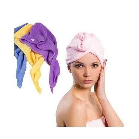 Serviette Bonnet Micofibre Charlotte Séchage Cheveux Bain Douche 4 Couleurs