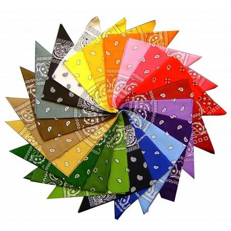 Bandana Polyester 50 x 50 cm Foulard Carré Bandeau de Tête 12 Couleurs
