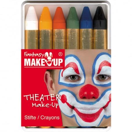 6 Crayons de Maquillage Visage Peau Kermesse Clown Spectacle Déguisement Grim