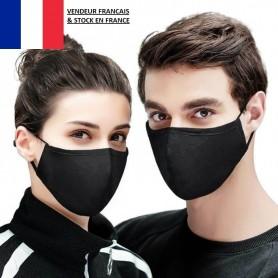 5 X Masque Protection en Tissu Lavable Noir Élastique Réglable Adulte MIXTE