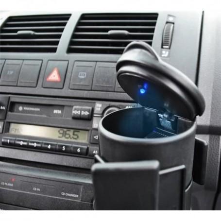 Cendrier Portable Voyage Voiture Rétro éclairé Bleu avec Couvercle