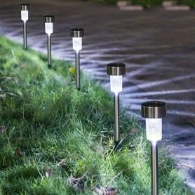 4 X Lampe de Jardin Solaire LED Rechargeable Eclairage Extérieur 30 cm