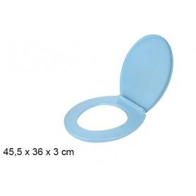 Abattant WC Bleu Uni 45,5 x 36 cm Tout Confort en Plastique + Fixation