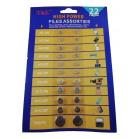 22 Piles Bouton AG1 AG3 AG4 AG5 AG12 AG13 CR2016 Jeu Calculatrice Montre Etc