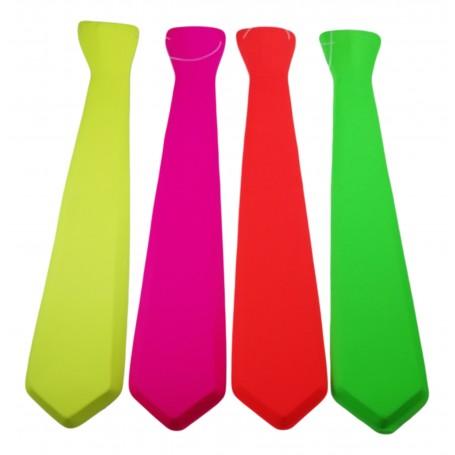 Cravate Homme Fluo Uni 47,5 cm Plastique Fixation Facile élastique Déguisement