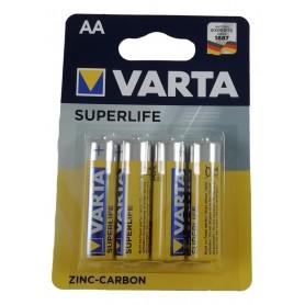 4 Piles AA LR6 R6 VARTA Superlife 1,5V Zinc Carbon Batterie Longue Durée