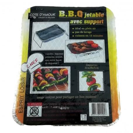 Barbecue grill avec support jetable réutilisable BBQ viande poisson poulet