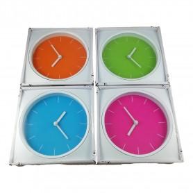Horloge bicolore Pendule cadre blanc et intérieur fluo design 4 Couleurs