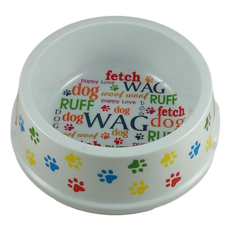 Grande gamelle pour chien 18,5cm Design pattes Woof Dog Ecrits colorés