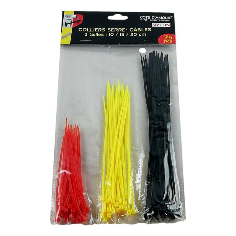 Lot 150 X Colliers Serre Câble Attache Corde Boucle en Nylon Fil 10 15 et 20 cm