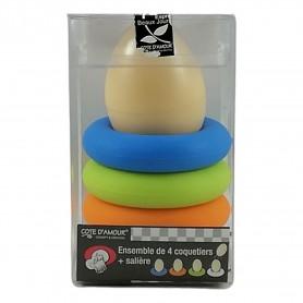 Lot de 4 X Coquetier en silicone pour oeuf à la coque 4 couleurs
