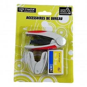 Lot 10X Kit Agrafeuse + Boîte d'agrafes + Ote-agrafe Accessoires de bureau