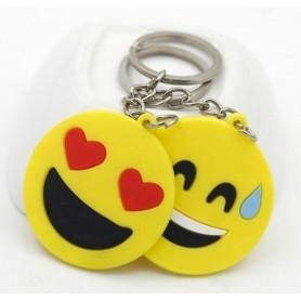 Porte clé Emoji Emoticone jaune 5cm avec chaîne et anneau pour clef