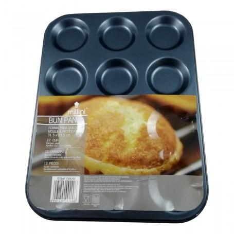 Moule à Biscuit et Petit Pain 12 Emplacements de 6 cm Acier de Carbone