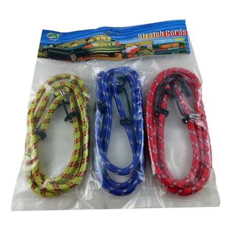 Lot de 3 Fils Tendeurs 100 cm Câble élastique Sangle Avec Crochet Set 3 Couleurs