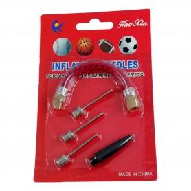 Set 5pcs Aiguille pour Pompe à Ballon 3 Embouts 1 Câble 1 Support Gonflage
