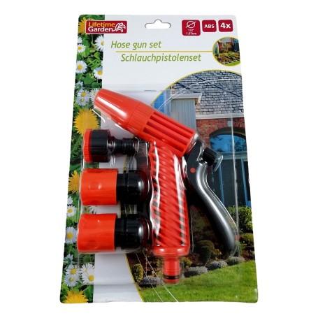 4pcs Pistolet d'Arrosage pour Tuyau + Raccords Jardin Pelouse Jet Pulvérisateur