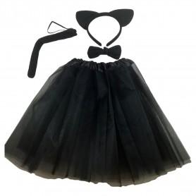Déguisement de Chat Costume Enfant Fille 4pcs Jupe Oreilles Noeud Queue