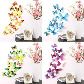 12 pcs 3D papillon Stickers muraux papillons décoration maison, chambre enfant