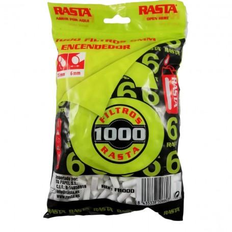 1000 Filtres de Cigarettes à Rouler Slim 6 mm avec Sachet Zip Refermable