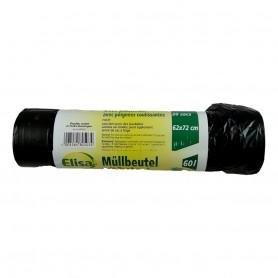 100X Sac Poubelle Noir 60 L (Soit + de 50 Litres) 62 x 72 cm Cordon de Serrage