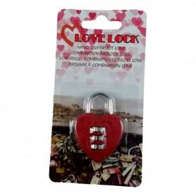 Cadenas à Code 3 Chiffres Coeur Amour Romantique St Valentin Casier Bagage