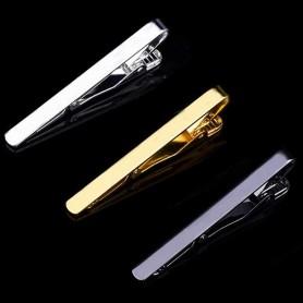 Pince à Cravate en métal couleur Argent Or ou Noir Homme Fermoir 5,3 cm