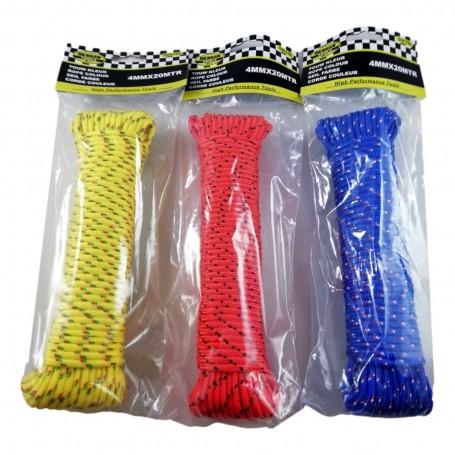 Corde Polypropylène PP 20m x 4mm UV Résistante Tressée étanche Imperméable