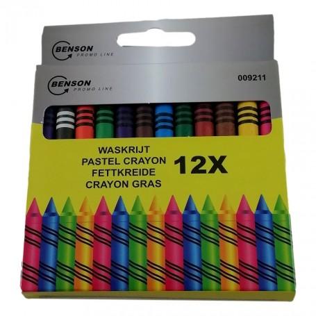 12 Crayons Pastel 9 cm 12 Couleurs Dessin Coloriage Enfant