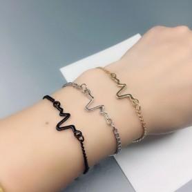 Bracelet en métal ECG Battement de coeur Fréquence cardiaque Amour