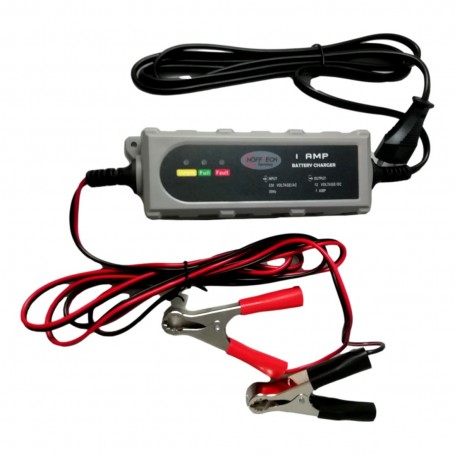 Chargeur Batterie de Voiture Auto Camion Bateau 12V 1A avec Câbles Pinces CE