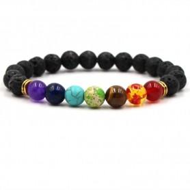 Bracelet Guérison Des 7 Chakras En Pierres De Lave Lithothérapie Yoga Reiki