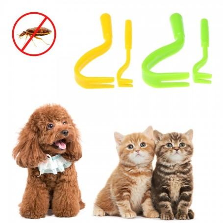 Kit de 2 Crochets d'Extraction de Tiques Pince Anti Tique Chien Chat Animaux