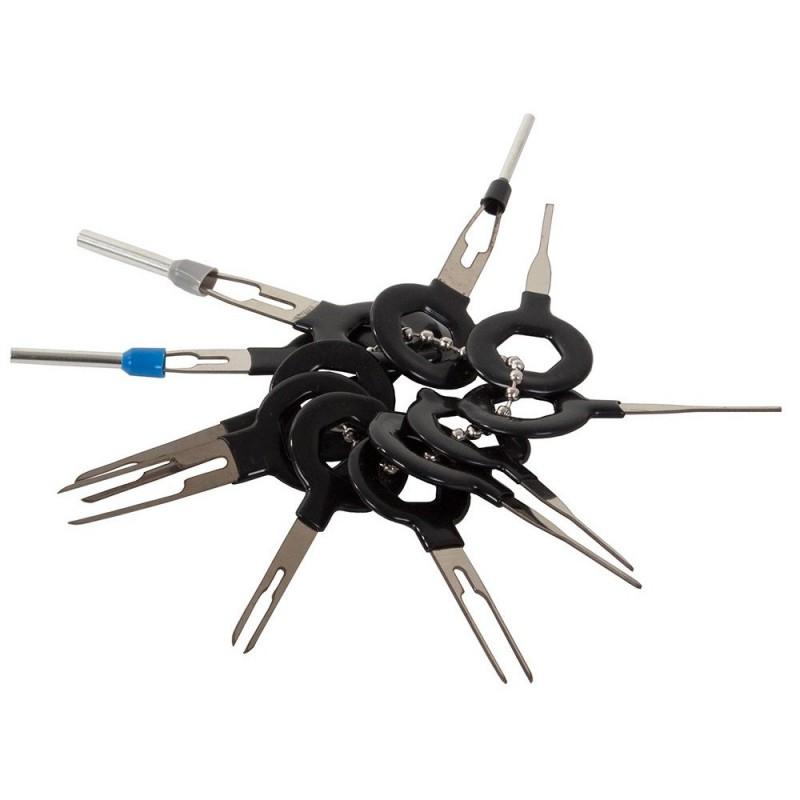 Porte-clés Outil Broche Extracteur Fil Câble Connecteur Terminal Voiture Auto 11pcs