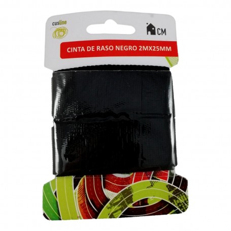 Ruban 100% Coton Noir 2M x 25mm Couture Mercerie Scrapbooking Broderie