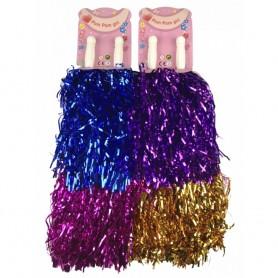 2 Bâtons de Pom Pom Girl Bleu Or Violet Pompon Disco Déguisement Adulte Enfant