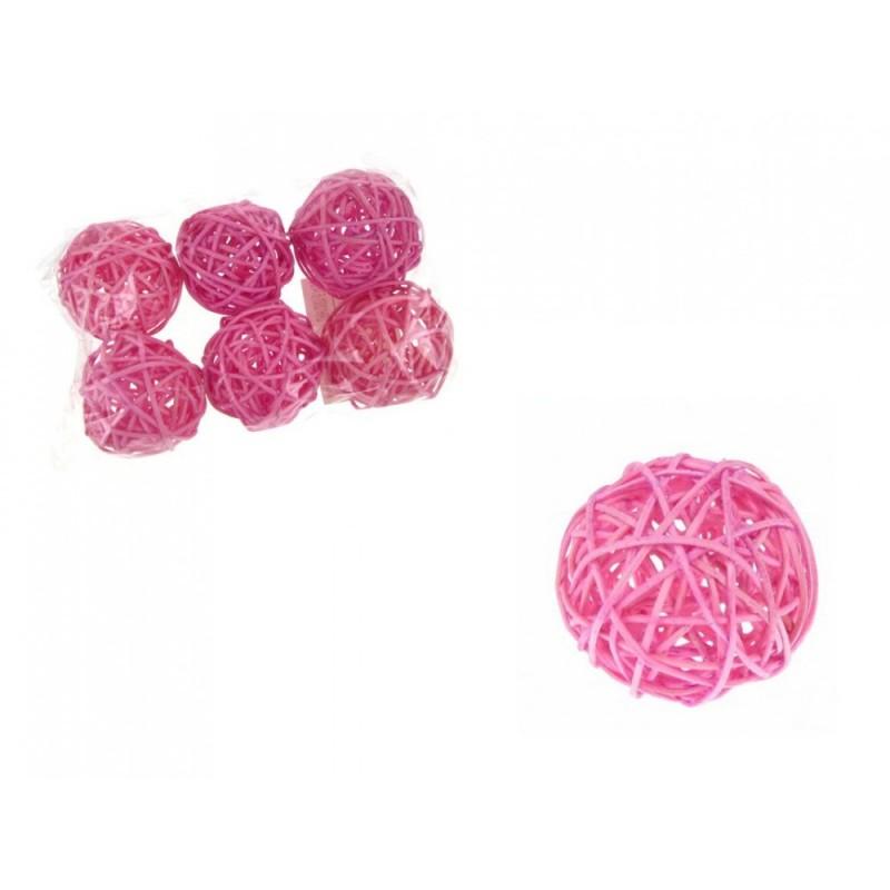 6 Boules de Rotin Osier Couleur Rose Décoration Table Vintage Mariage Noces