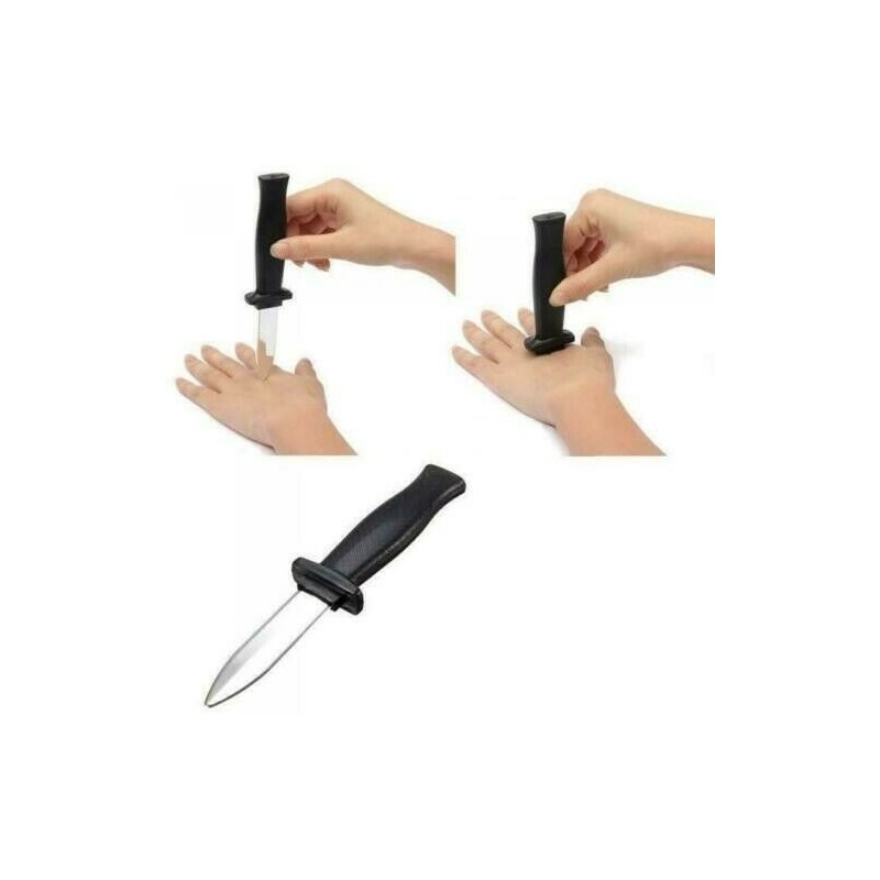 Faux Couteau en Plastique avec Lame Rétractable Farces et Attrape Blague