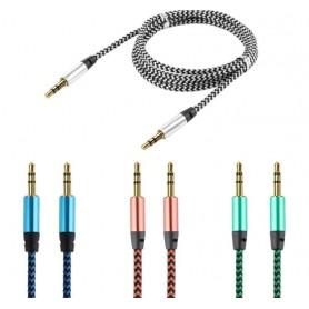 Câble audio Jack Renforcé Raccordement Tressé 3,5mm Double Mâle Stéréo 1M