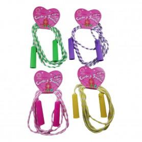 Corde à Sauter 2,10 M Poignées en Plastique pour Jeux d'Enfant Extérieur Gym
